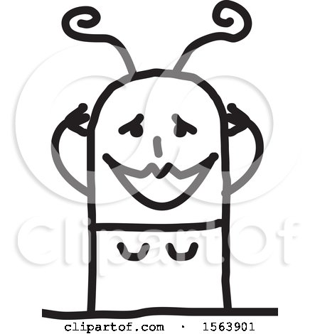 Clipart of a Gushing Stick Woman - Royalty Free Vector Illustration by NL shop