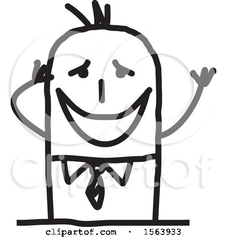 Clipart of a Gushing Stick Man - Royalty Free Vector Illustration by NL shop