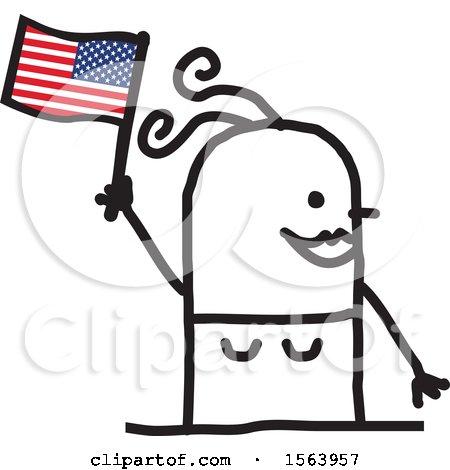 Happy Stick Woman Waving an American Flag Posters, Art Prints