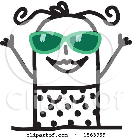 Clipart of a Happy Stick Woman Wearing a Swimsuit and Sunglasses - Royalty Free Vector Illustration by NL shop