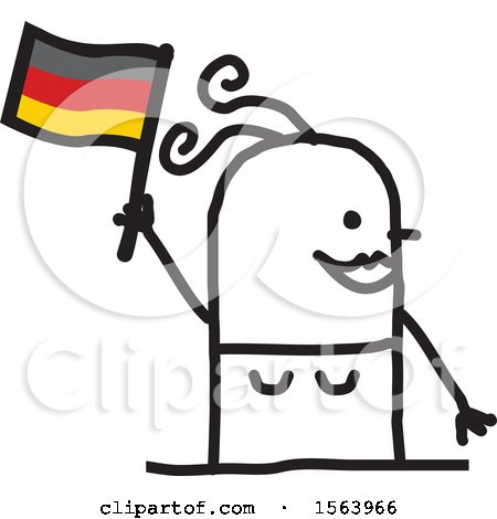 Happy Stick German Woman Holding a Flag Posters, Art Prints