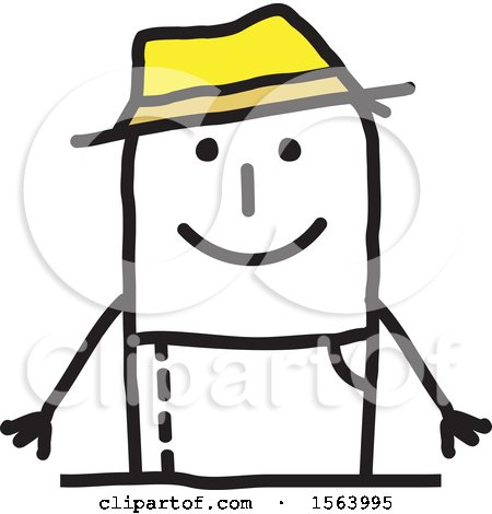 Clipart of a Happy Stick Gardener Man - Royalty Free Vector Illustration by NL shop