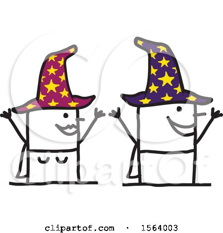 Clipart of a Happy Stick Wizard and Witch Couple - Royalty Free Vector Illustration by NL shop