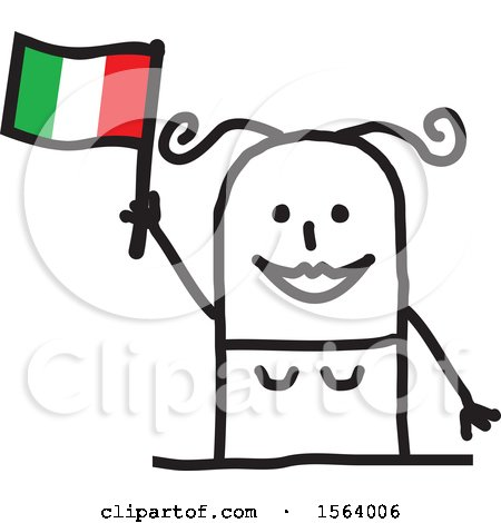 Happy Stick Italian Woman Holding a Flag Posters, Art Prints