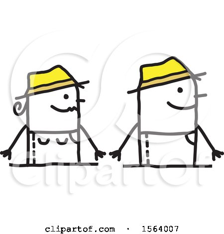 Clipart of a Happy Stick Gardener Couple - Royalty Free Vector Illustration by NL shop