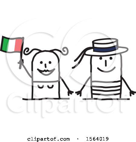 Happy Stick Italian Couple Posters, Art Prints