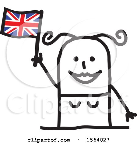 Happy Stick British Woman Holding a Flag Posters, Art Prints