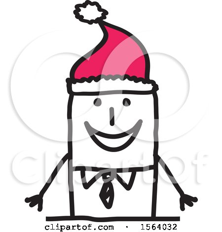 Clipart of a Stick Man Wearing a Santa Hat - Royalty Free Vector Illustration by NL shop