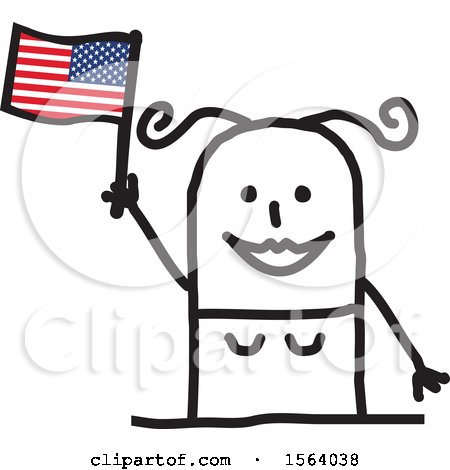 Clipart of a Happy Stick Woman Waving an American Flag - Royalty Free Vector Illustration by NL shop