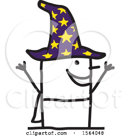 Clipart of a Happy Stick Wizard - Royalty Free Vector Illustration by NL shop