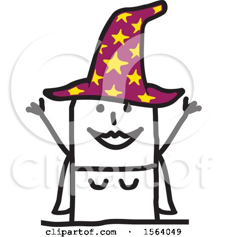 Clipart of a Happy Stick Witch - Royalty Free Vector Illustration by NL shop