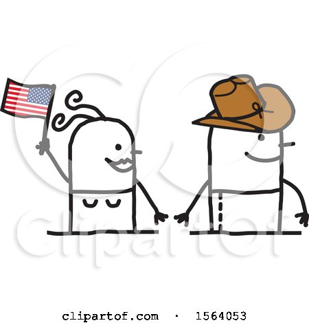 Happy American Couple with a Flag and Cowboy Hat Posters, Art Prints