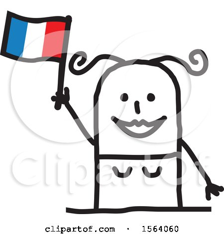 Happy Stick Woman Waving a French Flag Posters, Art Prints