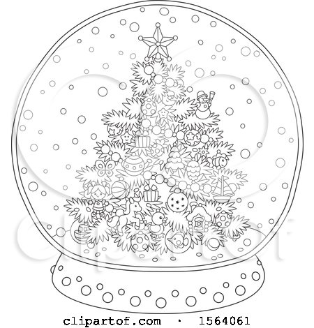 Clipart of a Lineart Christmas Tree Snow Globe - Royalty Free Vector Illustration by Alex Bannykh