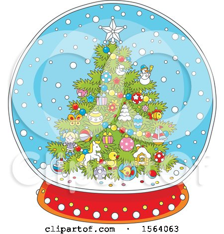 Clipart of a Christmas Tree Snow Globe - Royalty Free Vector Illustration by Alex Bannykh