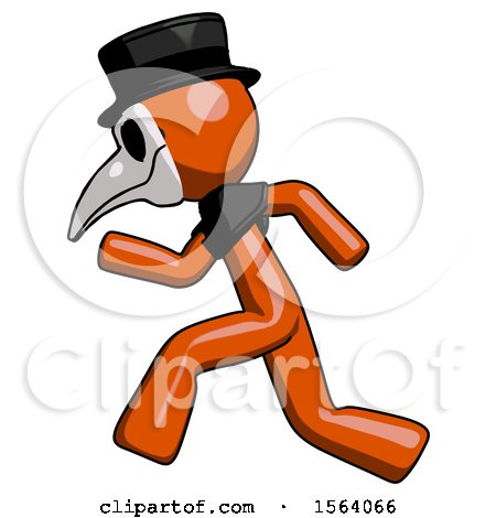 Orange Plague Doctor Man Running Fast Left by Leo Blanchette