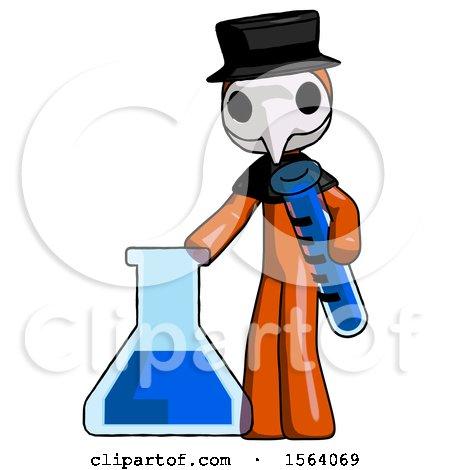 Orange Plague Doctor Man Holding Test Tube Beside Beaker or Flask by Leo Blanchette