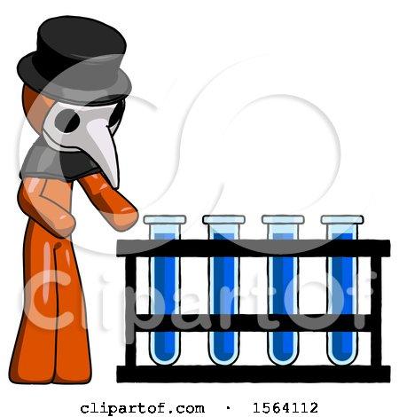 Orange Plague Doctor Man Using Test Tubes or Vials on Rack by Leo Blanchette