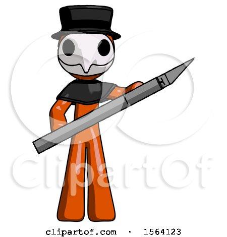 Orange Plague Doctor Man Holding Large Scalpel by Leo Blanchette
