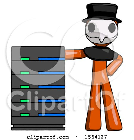 Orange Plague Doctor Man with Server Rack Leaning Confidently Against It by Leo Blanchette