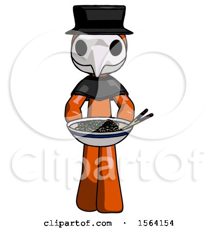 Orange Plague Doctor Man Serving or Presenting Noodles by Leo Blanchette