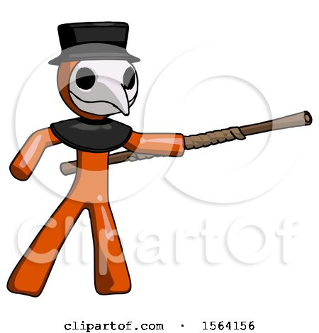 Orange Plague Doctor Man Bo Staff Pointing Right Kung Fu Pose by Leo Blanchette