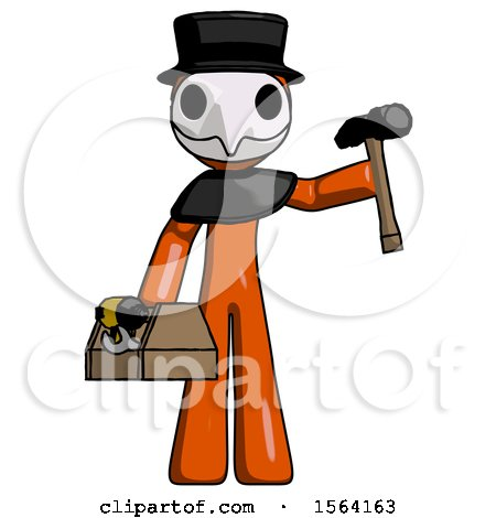 Orange Plague Doctor Man Holding Tools and Toolchest Ready to Work by Leo Blanchette