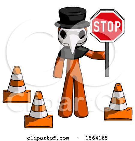 Orange Plague Doctor Man Holding Stop Sign by Traffic Cones Under Construction Concept by Leo Blanchette