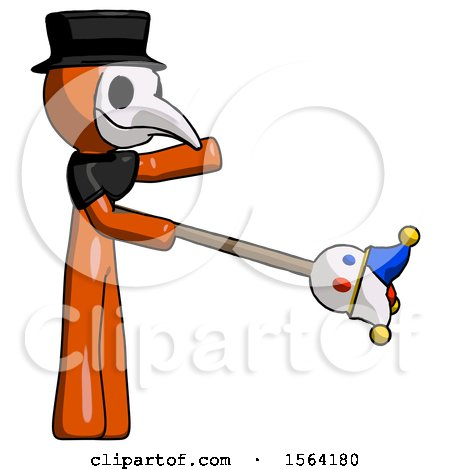 Orange Plague Doctor Man Holding Jesterstaff - I Dub Thee Foolish Concept by Leo Blanchette