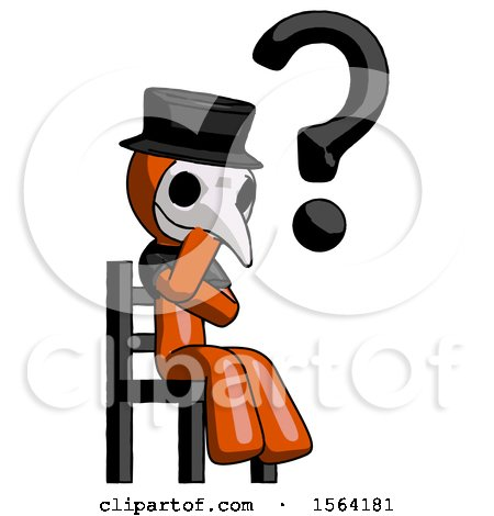 Orange Plague Doctor Man Question Mark Concept, Sitting on Chair Thinking by Leo Blanchette