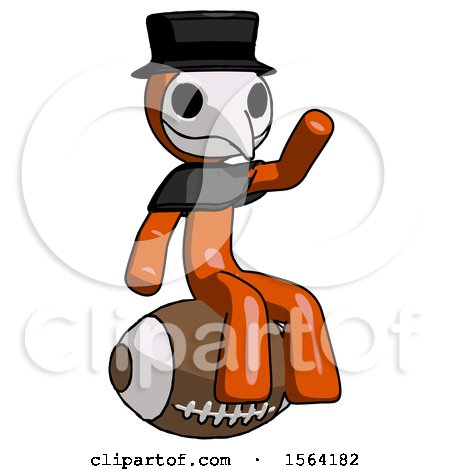 Orange Plague Doctor Man Sitting on Giant Football by Leo Blanchette
