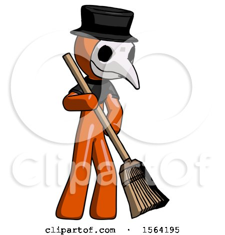 Orange Plague Doctor Man Sweeping Area with Broom by Leo Blanchette
