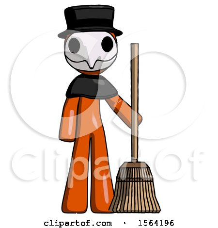 Orange Plague Doctor Man Standing with Broom Cleaning Services by Leo Blanchette