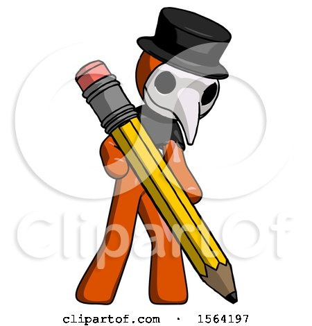 Orange Plague Doctor Man Writing with Large Pencil by Leo Blanchette