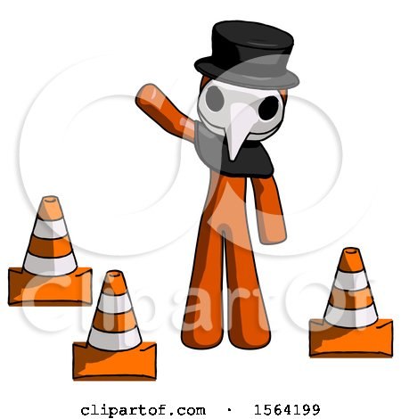 Orange Plague Doctor Man Standing by Traffic Cones Waving by Leo Blanchette