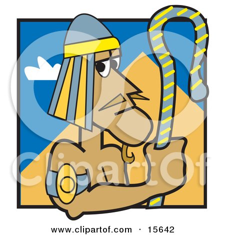 Egyptian Pharaoh Holding A Staff And Standing Near A Pyramid Clipart Illustration by Andy Nortnik