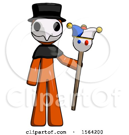 Orange Plague Doctor Man Holding Jester Staff by Leo Blanchette