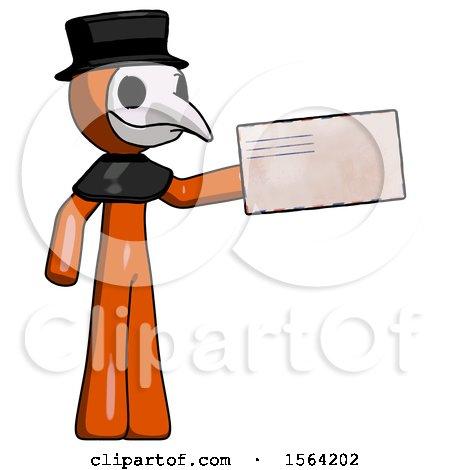 Orange Plague Doctor Man Holding Large Envelope by Leo Blanchette