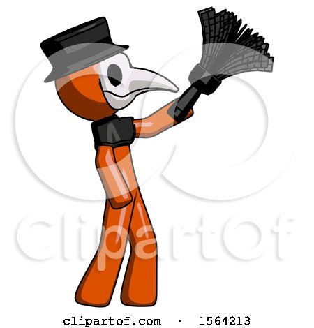 Orange Plague Doctor Man Dusting with Feather Duster Upwards by Leo Blanchette