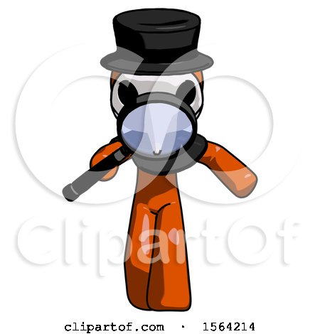 Orange Plague Doctor Man Looking down Through Magnifying Glass by Leo Blanchette