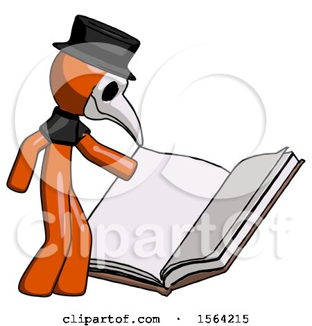 Orange Plague Doctor Man Reading Big Book While Standing Beside It by Leo Blanchette