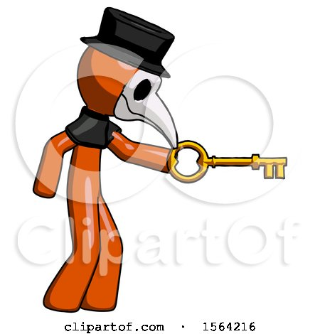 Orange Plague Doctor Man with Big Key of Gold Opening Something by Leo Blanchette