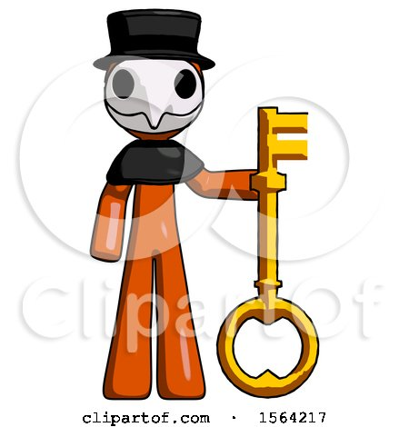 Orange Plague Doctor Man Holding Key Made of Gold by Leo Blanchette