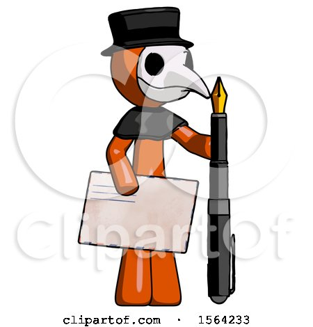 Orange Plague Doctor Man Holding Large Envelope and Calligraphy Pen by Leo Blanchette