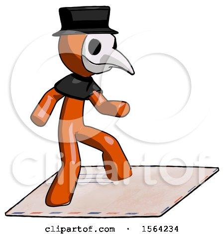 Orange Plague Doctor Man on Postage Envelope Surfing by Leo Blanchette