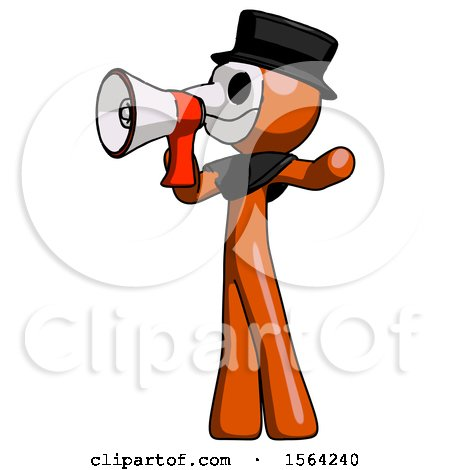 Orange Plague Doctor Man Shouting into Megaphone Bullhorn Facing Left by Leo Blanchette