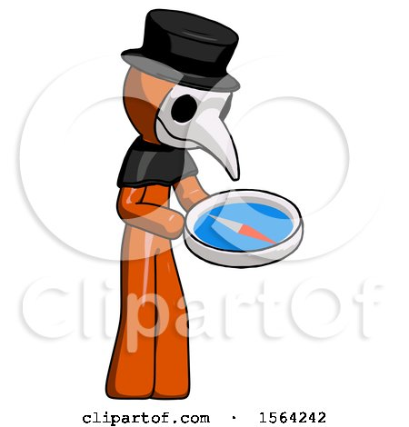 Orange Plague Doctor Man Looking at Large Compass Facing Right by Leo Blanchette