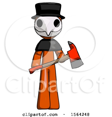 Orange Plague Doctor Man Holding Red Fire Fighter's Ax by Leo Blanchette