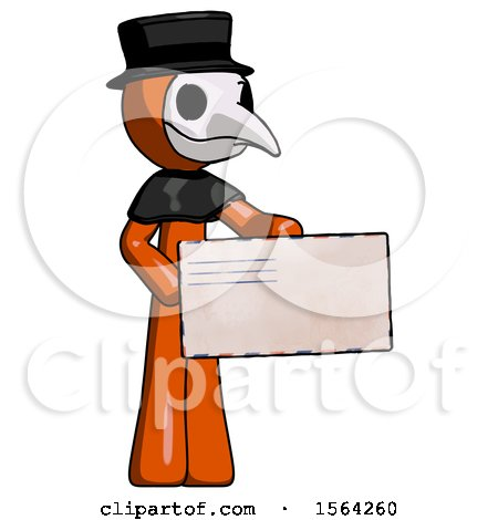 Orange Plague Doctor Man Presenting Large Envelope by Leo Blanchette