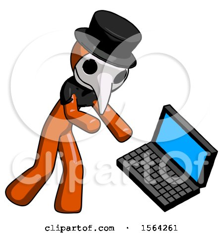 Orange Plague Doctor Man Throwing Laptop Computer in Frustration by Leo Blanchette